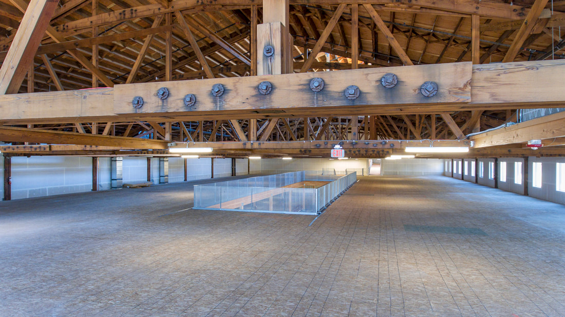 Redfox-Commons-Interior-East Wing-Looking-West-rafters-old-beams